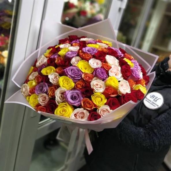 "101 цветная роза ""Микс-2"""
